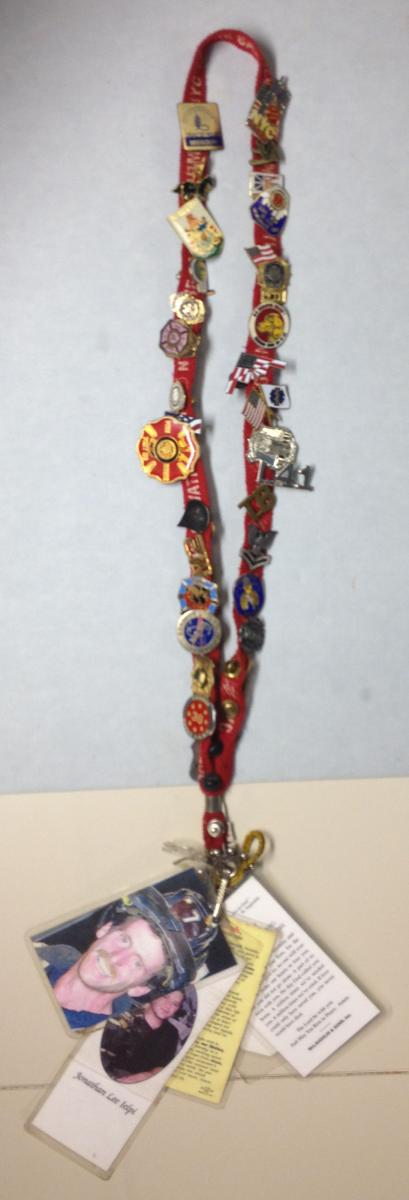 Red Salvation Army lanyard, currently on display at the 9/11 Memorial Museum Courtesy of Debora Jackson