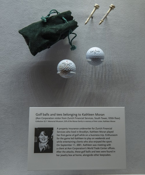 Kathleen's golf balls and tees are currently on display in the Museum's In Memoriam gallery. Photo by Jin Lee, 9/11 Memorial.