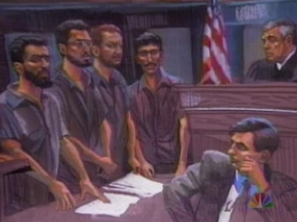 Courtroom drawing of US v. Salameh, 1994 Drawings by Christine Cornell.
