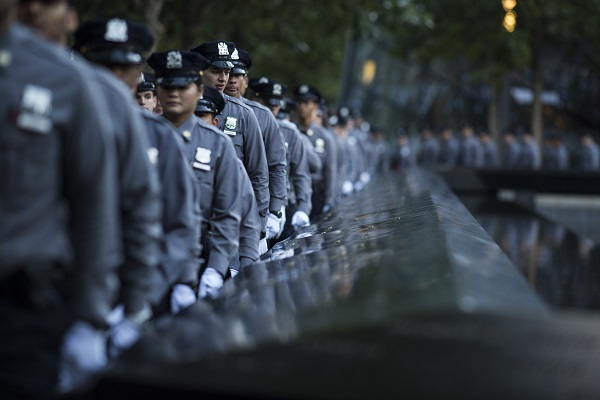 Navigate to First Class of NYPD Recruits Visits the 9/11 Memorial page