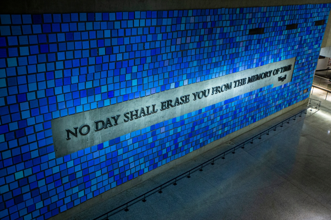 The overhead shot shows the blue tiles of the Spencer Finch installation in the 9/11 Memorial Museum.