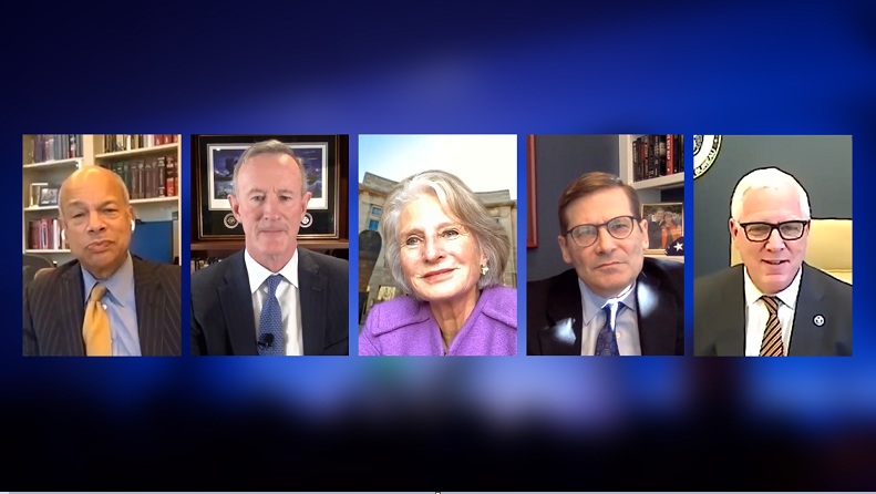 A composite image on a blue background of five public program participants on a Zoom call.