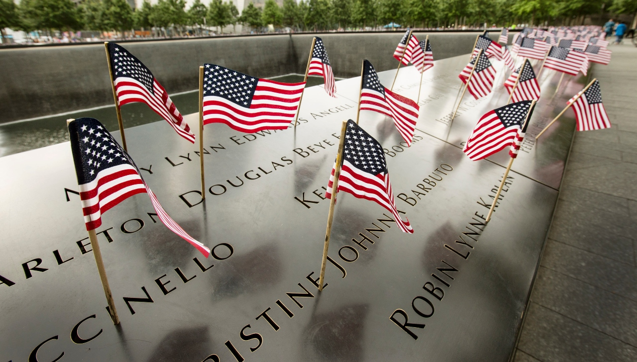 An array of American flags that were placed inside the names on the bronze parapets on the 9/11 Memorial.