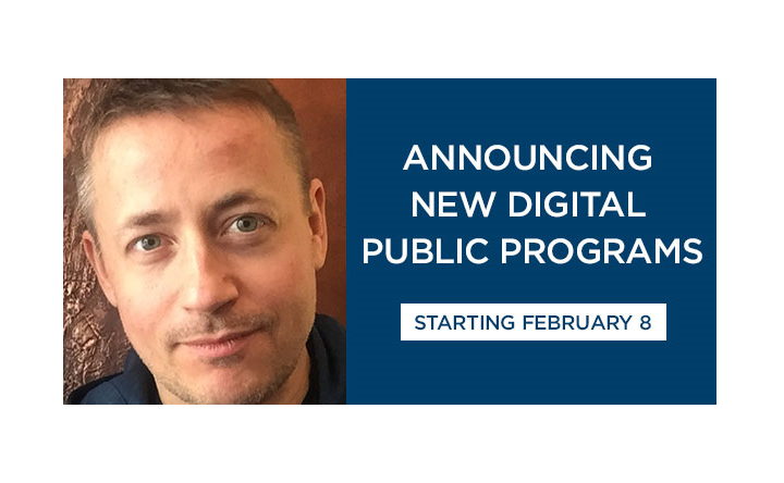 "A composite image features a professional headshot on the lefthand side of Thomas Hegghammer, a terrorism expert, and text to the right that reads, ""Announcing new digital public programs, Monday, February 8."""