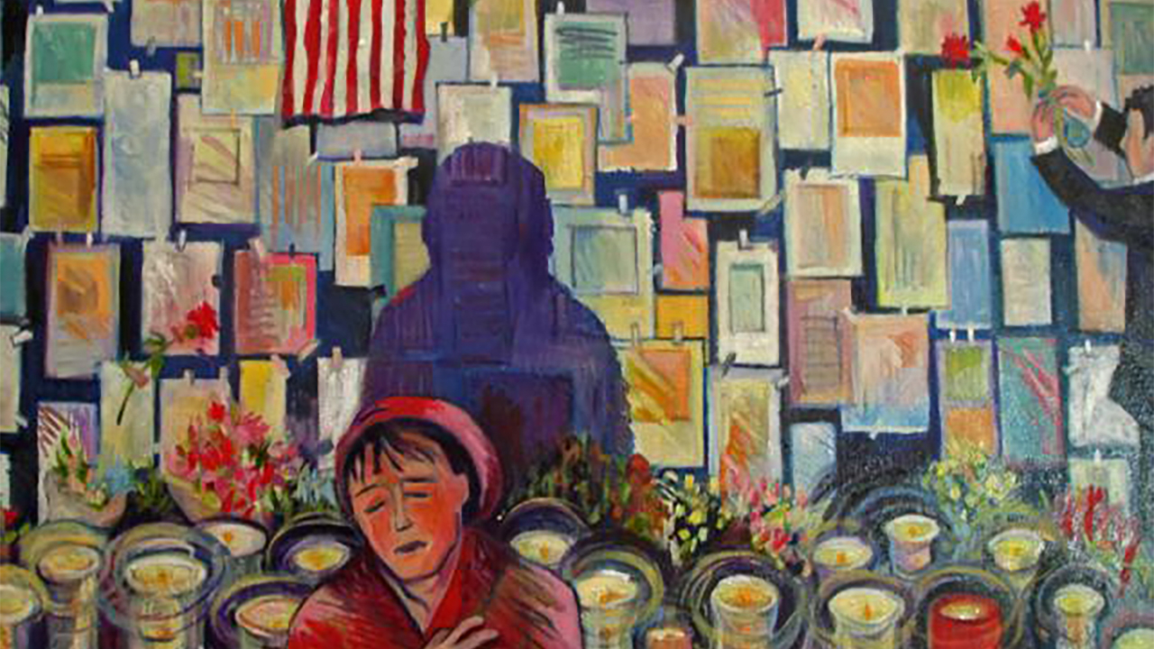 A colorful painting focuses on a woman in a red coat and hat. The woman's eyes are closed as she clutches her chest. Behind her is a memorial with candles and flowers. The woman's shadow appears on a wall of tributes. To the woman's right is a man placing flowers.