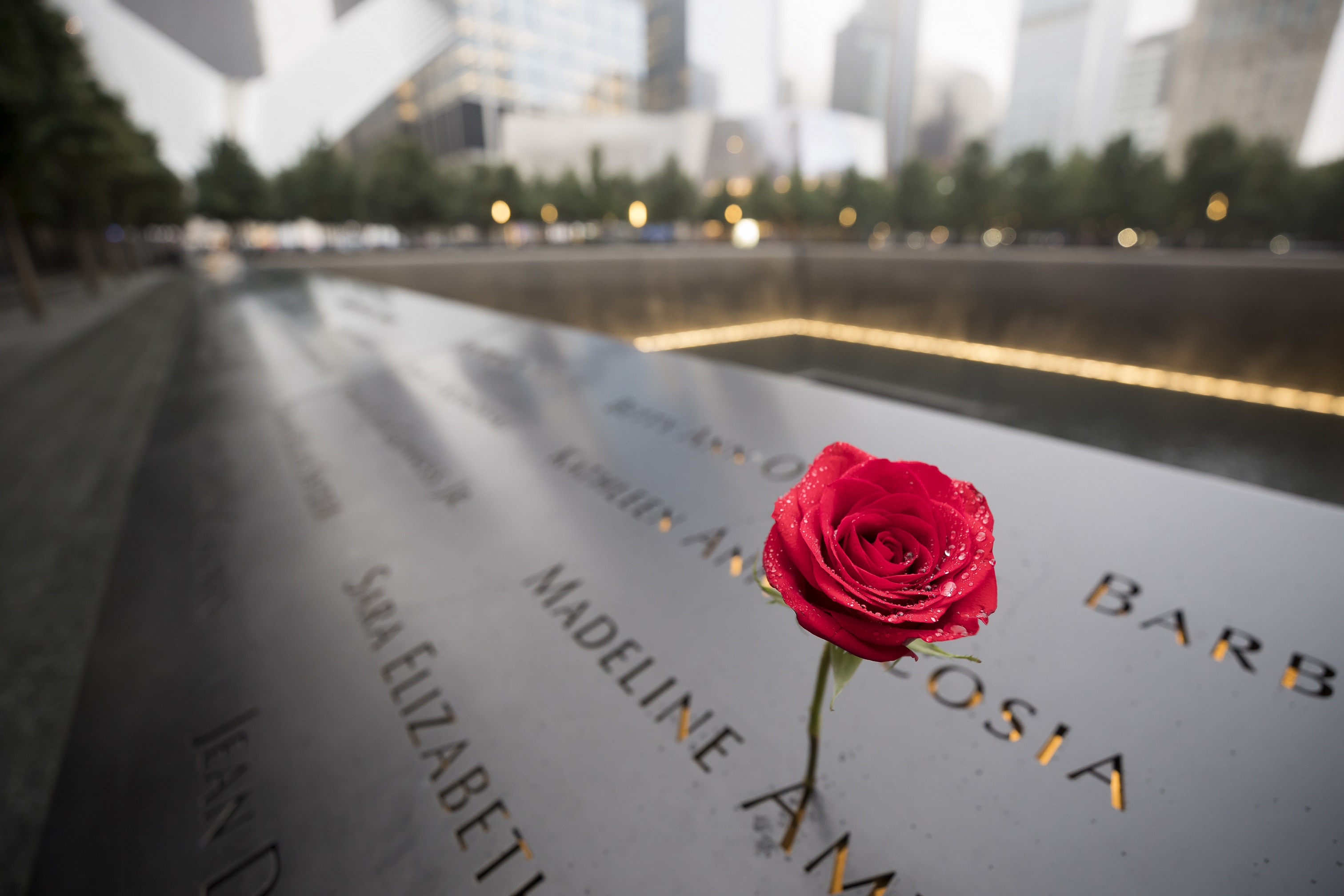 A single red rose stands at a name on a bronze parapet surrounding the lit-up reflecting pool in the footprint of the North Tower. The names of victims blur out of focus in the background.
