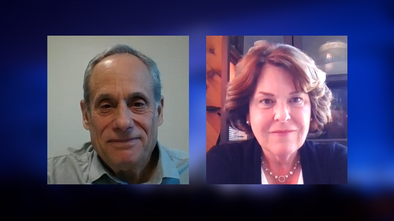 A composite image on a blue background of Cliff Chanin and Fran Moore engaging in a video conference conversation.
