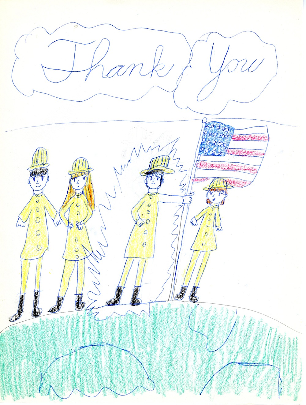 "child's drawing depicts four firefighters dressed in yellow. One of them is holding a large American flag. The words ""thank you"" are written above them."