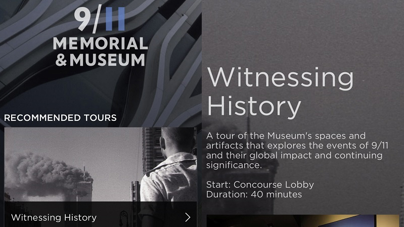 A screenshot from The 9/11 Museum Audio Guide App shows the witnessing history tour.