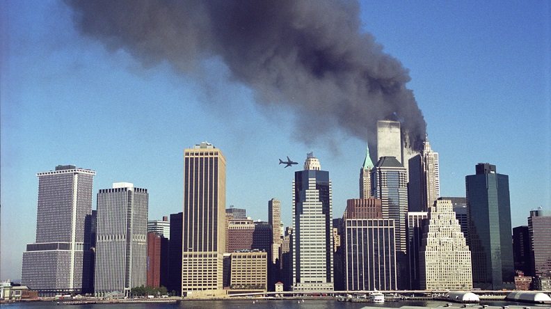 A historical image of the morning September 11th shows United Airlines Flight 175 moments before it was flown into the South Tower.