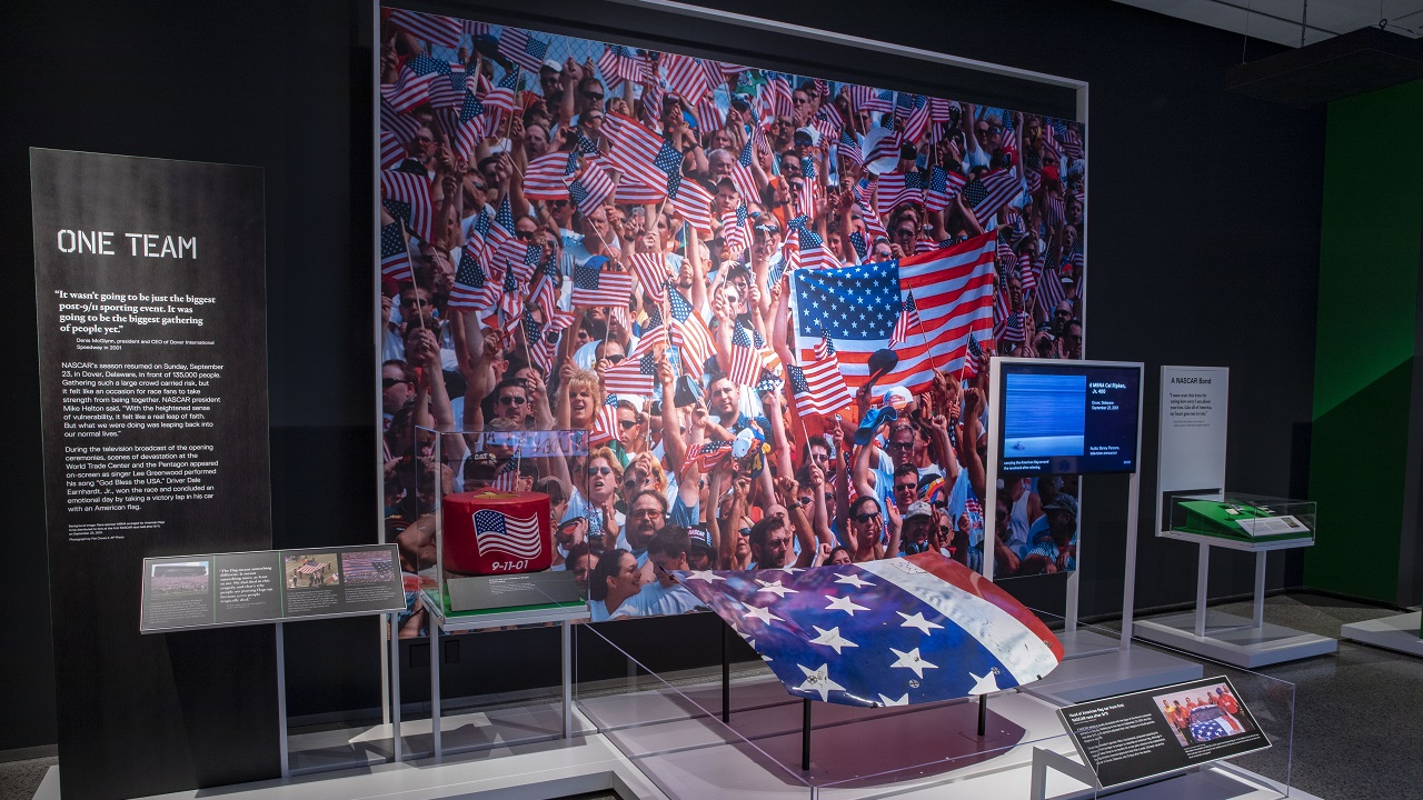 "An American flag and other memorabilia is on display as part of the sports-themed exhibition ""Comeback Season: Sports After 9/11."""