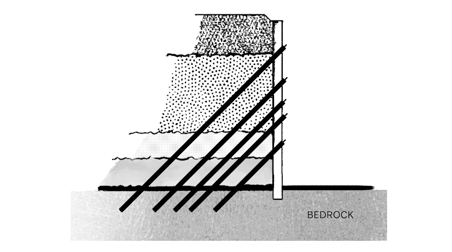 A black-and-white rendering shows one part of the slurry wall method.