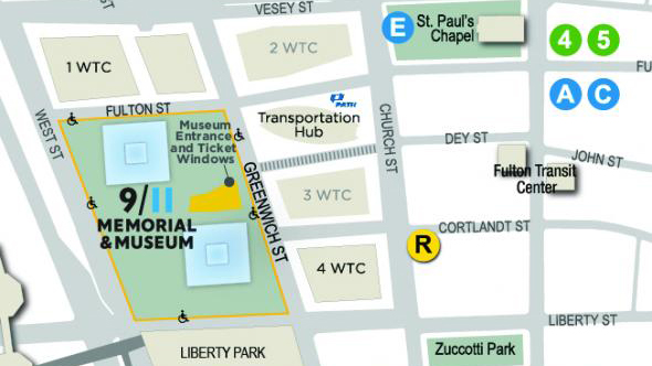 A map shows the location of the 9/11 Memorial & Museum at the World Trade Center site