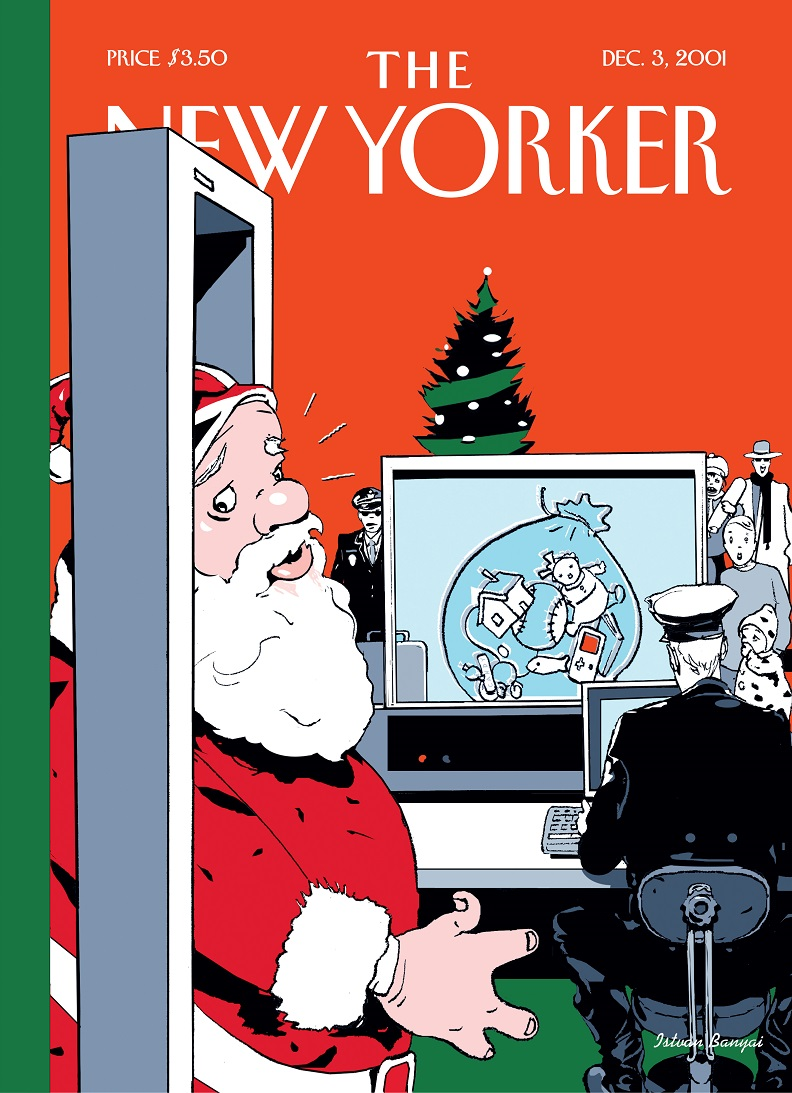 An illustrated cover of the New Yorker magazine depicts a Santa Claus passing through a metal detector at a security checkpoint. An officer observes the contents of his bag as it displays on a baggage screening monitor. A Christmas tree is in the background.