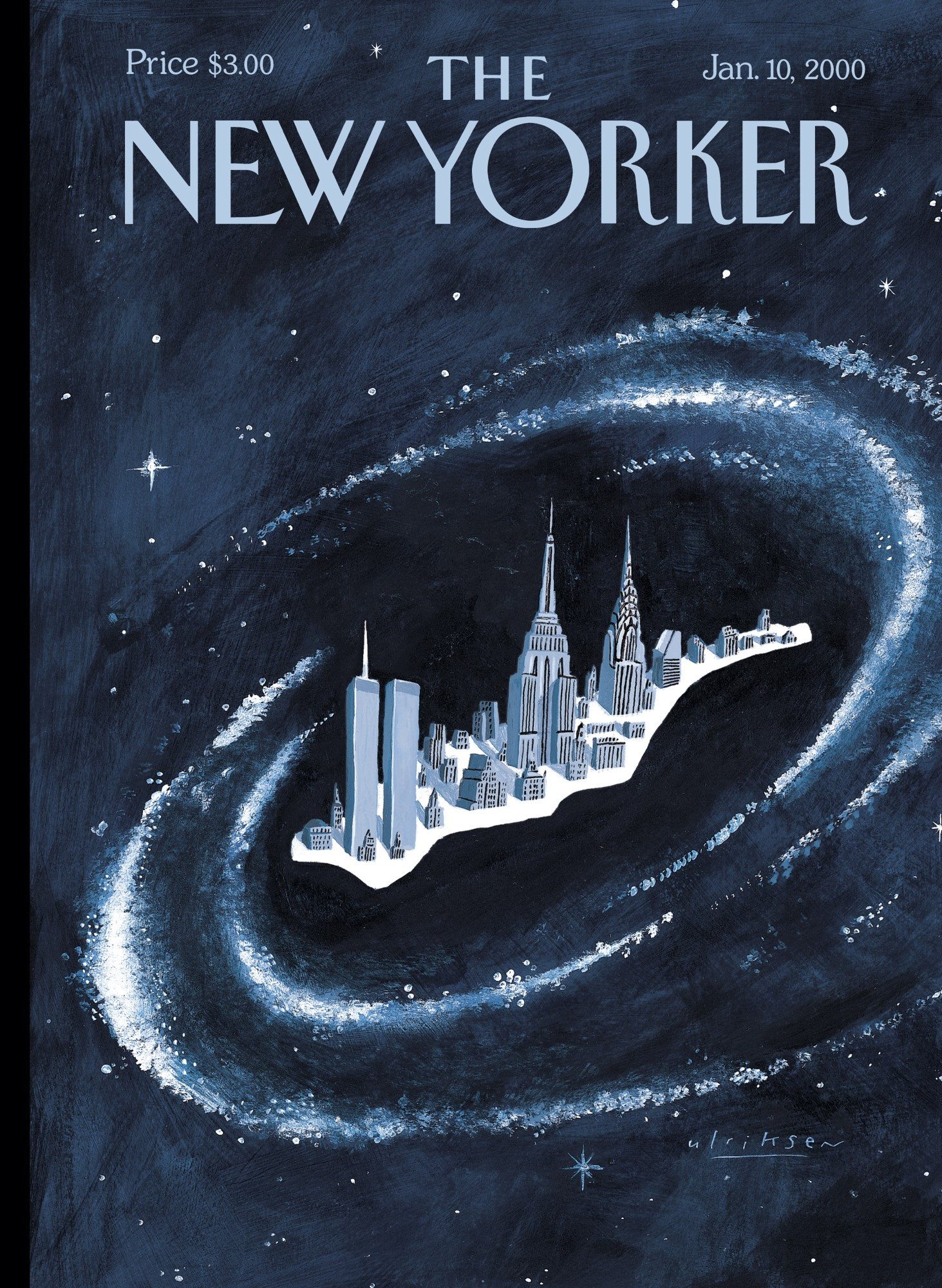 An illustrated cover of the New Yorker magazine depicts a miniature Manhattan island floating in a spiral galaxy. The World Trade Center, the Empire State Building, and the Chrysler Building stand out among shorter buildings. The galaxy is surrounded by white stars and navy-colored outer space.