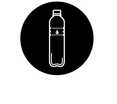 This black and white graphic depicts a water bottle.