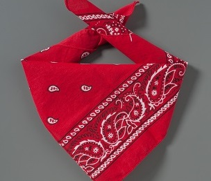 A red bandana that belonged to Welles Remy Crowther is displayed on a gray background.