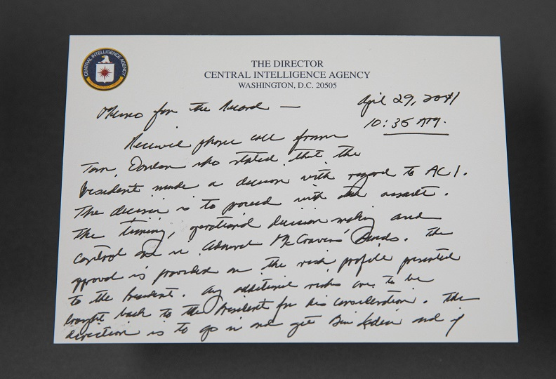 Handwritten memo on note with CIA letterhead.