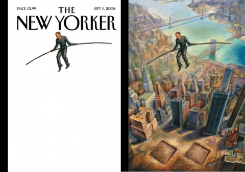 A cover of The New Yorker pays tribute to Philippe Petit's high-wire walk. The cover illustration shows Petit balancing on a white background. The back cover illustration shows him above two square footprints in lower Manhattan where the Twin Towers used to be.