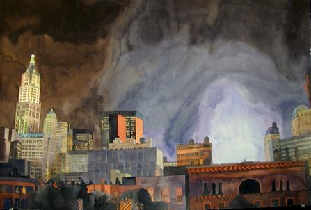 "The watercolor painting ""September Skyline"" by Todd Stone shows lower Manhattan at night as smoke rises from Ground Zero. The Woolworth Building and other buildings stand to the left."
