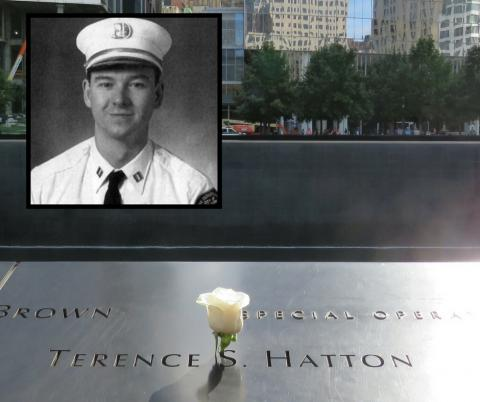 A white rose sits at the name of Captain Terence Hatton on the 9/11 Memorial. An inset black-and-white photo shows Hatton in an FDNY uniform.
