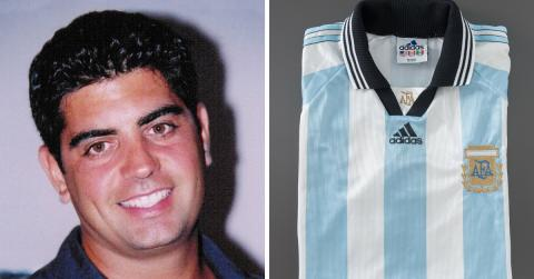 FDNY firefighter Sergio Villanueva smiles in an old photo. A separate image shows a soccer jersey owned by Villanueva on display on a gray surface at the Museum.