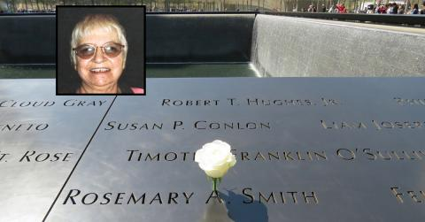 A white rose has been placed at the name of Rosemary Smith on the 9/11 Memorial. An inset image features an old photo of Smith smiling.