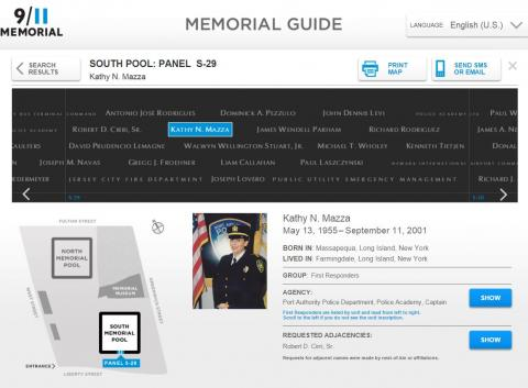A screenshot of the Memorial Guide shows information on Port Authority Police Captain Kathy Mazza.