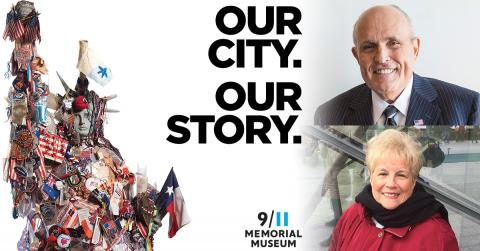 "Former Mayor Rudy Giuliani and 9/11 survivor Marilyn Goldberg smile in separate photos. Their images are flanked by a graphic reading ""Our City, Our Story"" and an image of the Lady Liberty memorial, a fiberglass Statue of Liberty covered in flags, patches and other memorial items."