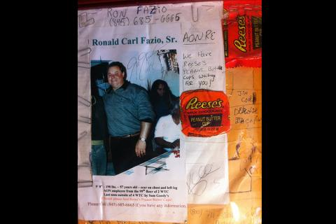 A missing poster for Ronald Fazio includes Reese's peaut butter cups, his favorite candy.
