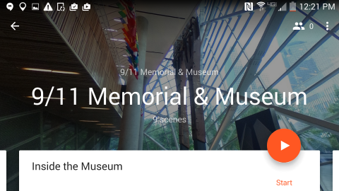 A screenshot of the Google Expeditions app features the 9/11 Memorial & Museum.