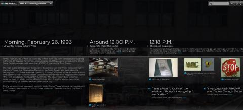This screenshot shows a part of the interactive timeline documenting the 1993 World Trade Center bombing.