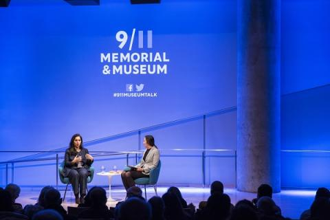 Souad Mekhennet and Jessica Chen speak onstage during a public program at the Museum auditorium.