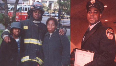 Keithroy Marcellus Maynard is seen dressed in bunker gear as he poses for a photo with a child and an older woman. In an accompanying photo Maynard poses for a photo in a formal FDNY outfit.