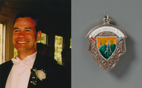 Damian Meehan, a trader who worked in the North Tower, smiles for a photo while wearing a bow tie and tuxedo. Meehan played Gaelic football and a second image shows a silver Gaelic football medal his team won.