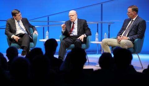 Former Acting CIA Directors John McLaughlin and Michael Morell and former CIA Senior Paramilitary Officer Phil Reilly participate in a public program onstage at the 9/11 Memorial Museum auditorium.