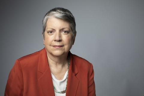 Former Secretary of Homeland Security Janet Napolitano poses for a professional portrait photo.