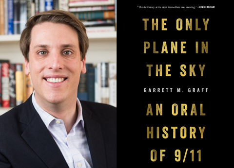 "Journalist and historian Garrett Graff poses for a professional photo on the left side of the image. The right side of the image shows the cover of Graff's book, ""The Only Plane in the Sky: An Oral History of 9/11."""