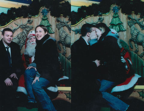 Kevin Michael Williams and his fiancee Jillian pose for photos after he proposed to her on Santa Claus' lap at Macy's in December 2000.
