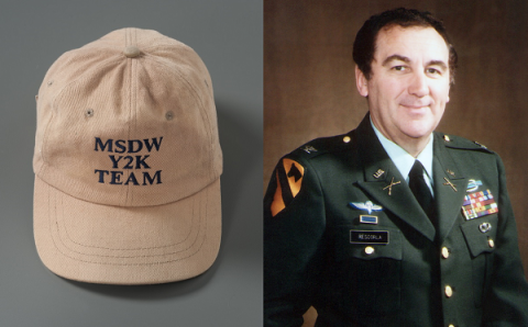 "A tan Morgan Stanley ""Y2K Team"" hat that belonged to Cantor Fitzgerald employee Nicholas Craig Lassman is displayed on a gray surface. Richard Cyril Rescorla, director of security for the financial services firm Morgan Stanley, poses in a formal military uniform for an official photo."