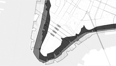 A black-and-white map of lower Manhattan that shows the encroaching water from the Hudson River and East River on either side.