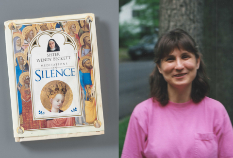 "A composite image of a book, ""Meditations on Silence"" by Sister Wendy Beckett resting on a gray surface (left) and woman in a pink T-shirt standing in front of a tree and smiling for the camera (right)."