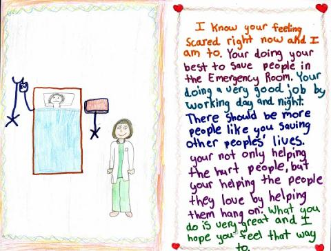 A children's illustration thanks doctors who volunteered at Ground Zero following the 9/11 attacks.