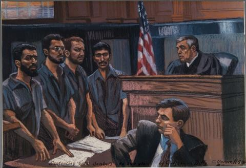 A courtroom sketch depicts four defendants awaiting sentencing by a judge, who looms in the top-right corner.