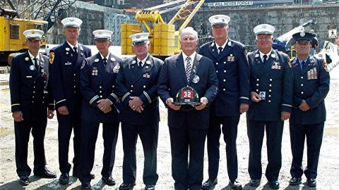 "Photograph of ""The Father's Eight"", also known as ""The Band of Fathers"" taken on September 3, 2002 at the World Trade Center site."