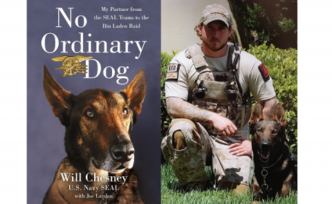 "A composite image of a book cover for ""No Ordinary Dog"" and a photograph of Will Chesney kneeling in fatigues next to Cairo, a Belgian Malinois."