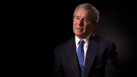 "In this still image taken from the short documentary film ""Facing Crisis: America Under Attack,"" former U.S. President George W. Bush is shown speaking to the camera."