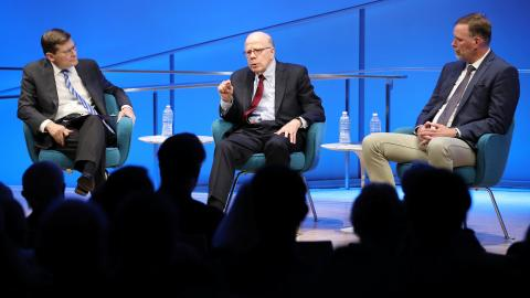Former Acting CIA Directors John McLaughlin and Michael Morell and former CIA Senior Paramilitary Officer Phil Reilly take part in the public program, CIA: Essential Intelligence: The CIA's Response to 9/11, in the Museum's auditorium.