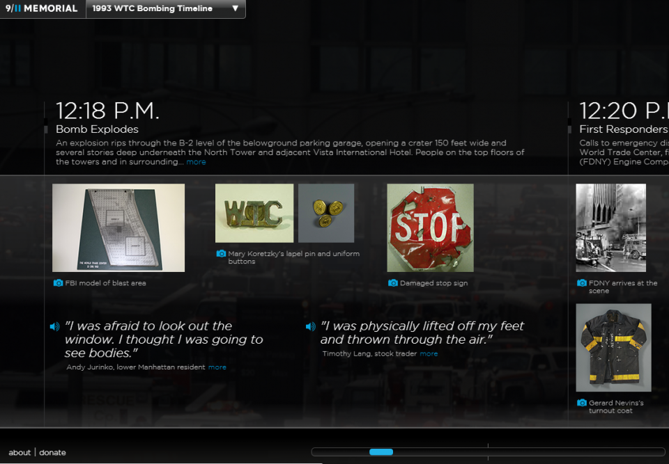 A screenshot from the Museum's website shows an interactive timeline of the 1993 bombing.