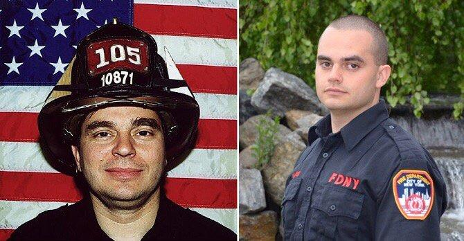 A split image shows firefighter Frank Palombo, who died on 9/11, and his son Thomas Palombo, who is also an FDNY firefighter.